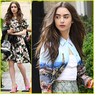 Lily Collins Wears Paris On Her Clothes While Filming 'Emily in Paris'