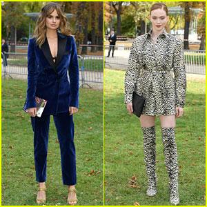 Debby Ryan & Larsen Thompson Wear Bold Looks to Elie Saab Fashion Show in Paris