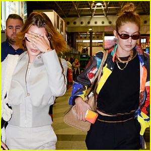 Gigi & Bella Hadid Fly Into Paris Ahead of Fashion Week