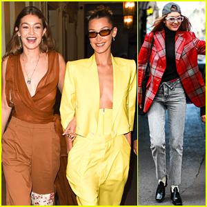 Gigi & Bella Hadid Brighten Up Paris In Yellow at Paris Fashion Week Event