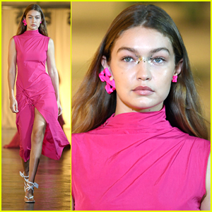 Gigi Hadid Wears Glitter On Her Nose For Off-White Show in Paris
