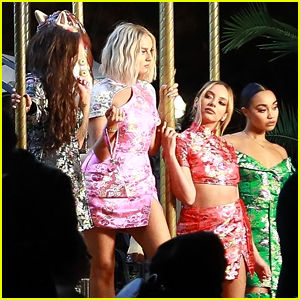 Perrie Edwards Rocks Short Blonde Hair For PrettyLittleThing Commercial Shoot with Little Mix