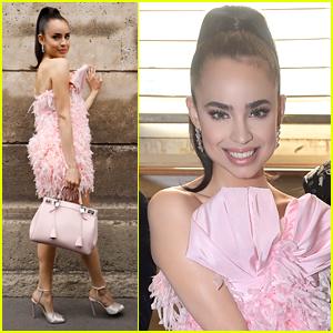 Sofia Carson Wears All The Frills To Giambattista Valli Fashion Show in Paris