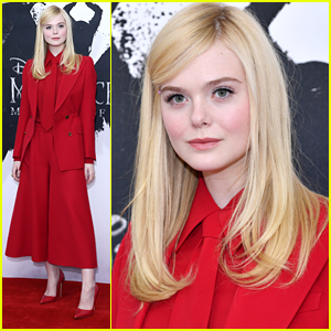 Elle Fanning Goes Bold In Red For 'Maleficent 2' Photo Call in London