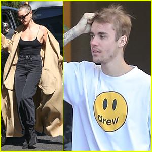 Hailey Bieber Wears Super Long Trench Coat Out in LA