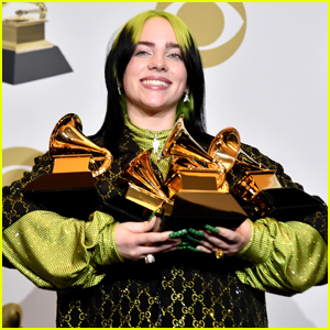 Billie Eilish Poses with All of Her Trophies After the Grammys 2020!