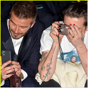 Brooklyn Beckham Snaps Pics With Dad David at Dior Men Show in Paris