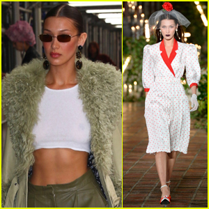 Bella Hadid Bares Her Abs After Walking in Rodarte Fashion Show