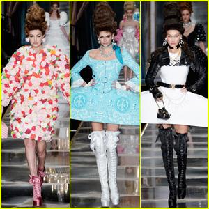 Gigi Hadid, Kaia Gerber, & Bella Hadid Wear Sky-High Wigs for Moschino Fashion Show!