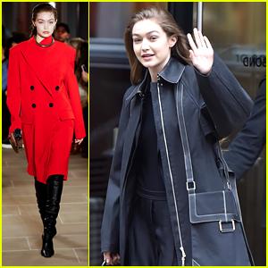 Gigi Hadid Wears Red Hot Coat For Proenza Schouler's Fashion Show