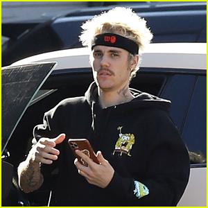 Justin Bieber Rocks a SpongeBob Sweatshirt for Outdoor Workout