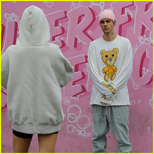 Justin Bieber Poses in Front of a Car Wash for Hailey