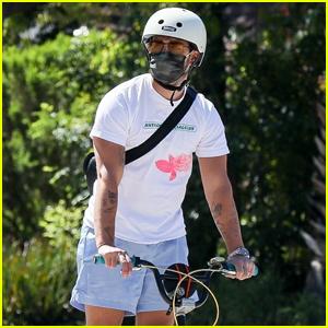 Joe Jonas Wears a Face Mask During His Bike Ride