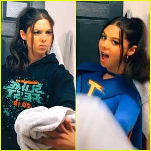 Kira Kosarin Puts Her 'Thundermans' Costume Back On For 'Wipe It Down' TikTok Challenge