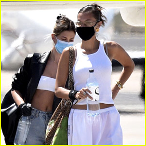 Hailey Bieber Leaves Italy with Bella Hadid After a Photo Shoot