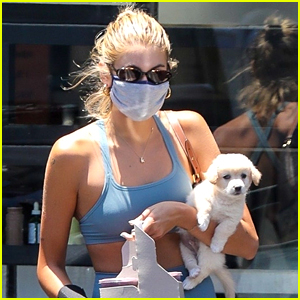 Kaia Gerber Brings Her New Puppy With Her For Juice Run
