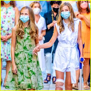 Spain's Princess Leonor Helps Sister Sofia Walk After She Injures Her Knee During Royal Visit