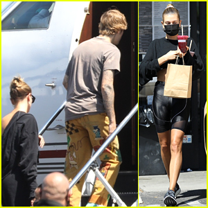 Justin Bieber & Wife Hailey Board a Private Plane Together