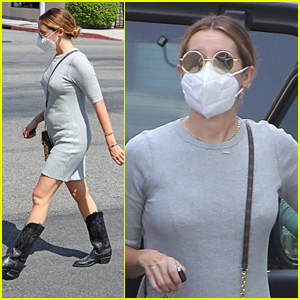 Pregnant Ashley Tisdale Steps Out For Lunch in Form Fitting Dress In Los Angeles