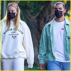 Sophie Turner & Joe Jonas Wear Matching Face Masks For Neighborhood Walk