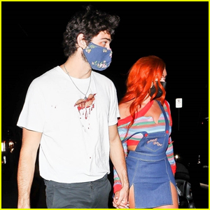 Noah Centineo & Stassie Karanikolaou Hold Hands Arriving at Halloween Party Together!