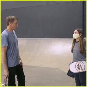 Addison Rae Gets Skateboarding Tips From Pro-Skater Tony Hawk