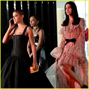 Jordan Alexander, Savannah Smith & Zion Moreno Film Night Scenes For 'Gossip Girl'