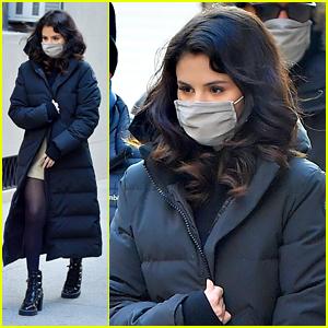 Selena Gomez Rocks Studded Boots On Set in New York City