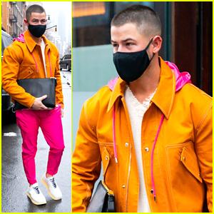Nick Jonas Wears Bright Outfit Ahead of Hosting 'Saturday Night Live'