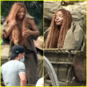 Halle Bailey Hides While Filming For 'The Little Mermaid' In Italy (Photos)
