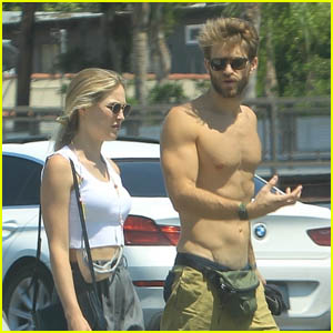 Keegan Allen Shows Off His Buff Bod During a Walk with His Girlfriend Ali Collier