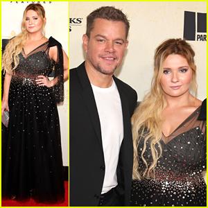 Abigail Breslin Poses With Movie Dad Matt Damon at 'Stillwater' Premiere