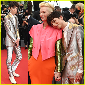 Timothee Chalamet Cozies Up To Co-Star Tilda Swinton at 'The French Dispatch' Cannes Premiere