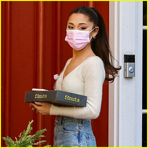 Ariana Grande Goes to Her Voice Lesson with Donuts in Hand!