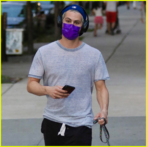 Dylan O'Brien Stays Safe While Taking His Dog for a Walk in NYC