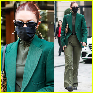 Gigi Hadid Steps Out in Paris in An All Green Outfit