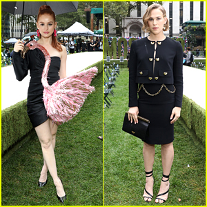 Madelaine Petsch & Tommy Dorfman Sit Front Row at Rainy Moschino Fashion Show