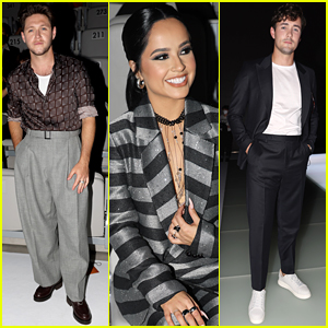 Niall Horan, Becky G & Jonah Hauer-King Sit Front Row at Emporio Armani In Milan