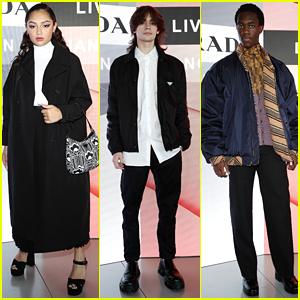 Avani Gregg, Anthony Reeves & Wisdom Kaye Attend Prada's Milan Fashion Week Show!