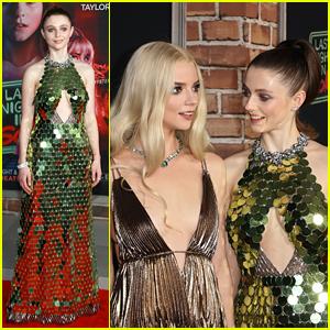 Thomasin McKenzie Wears Green Sequins For 'Last Night In Soho' Premiere